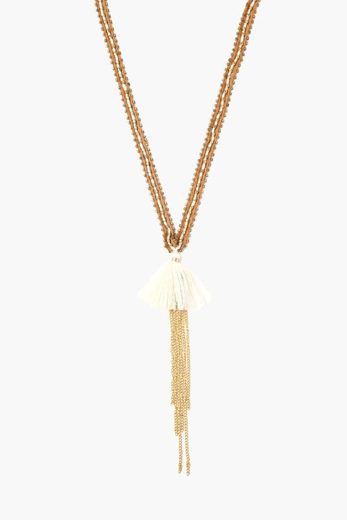 Brown Sugar Birch Chiffon Nugget and Tassel Necklace