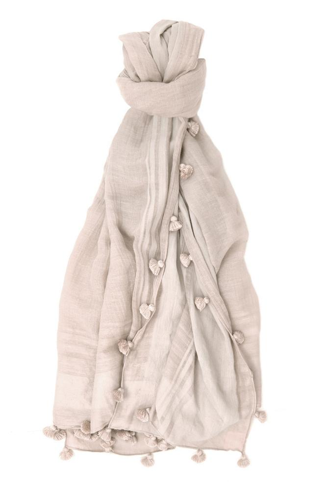 Dove Tassel Trim Scarf