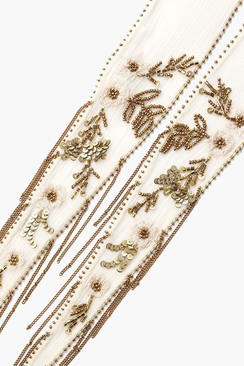 White Sequin Embroidered Floral Long Skinny Scarf