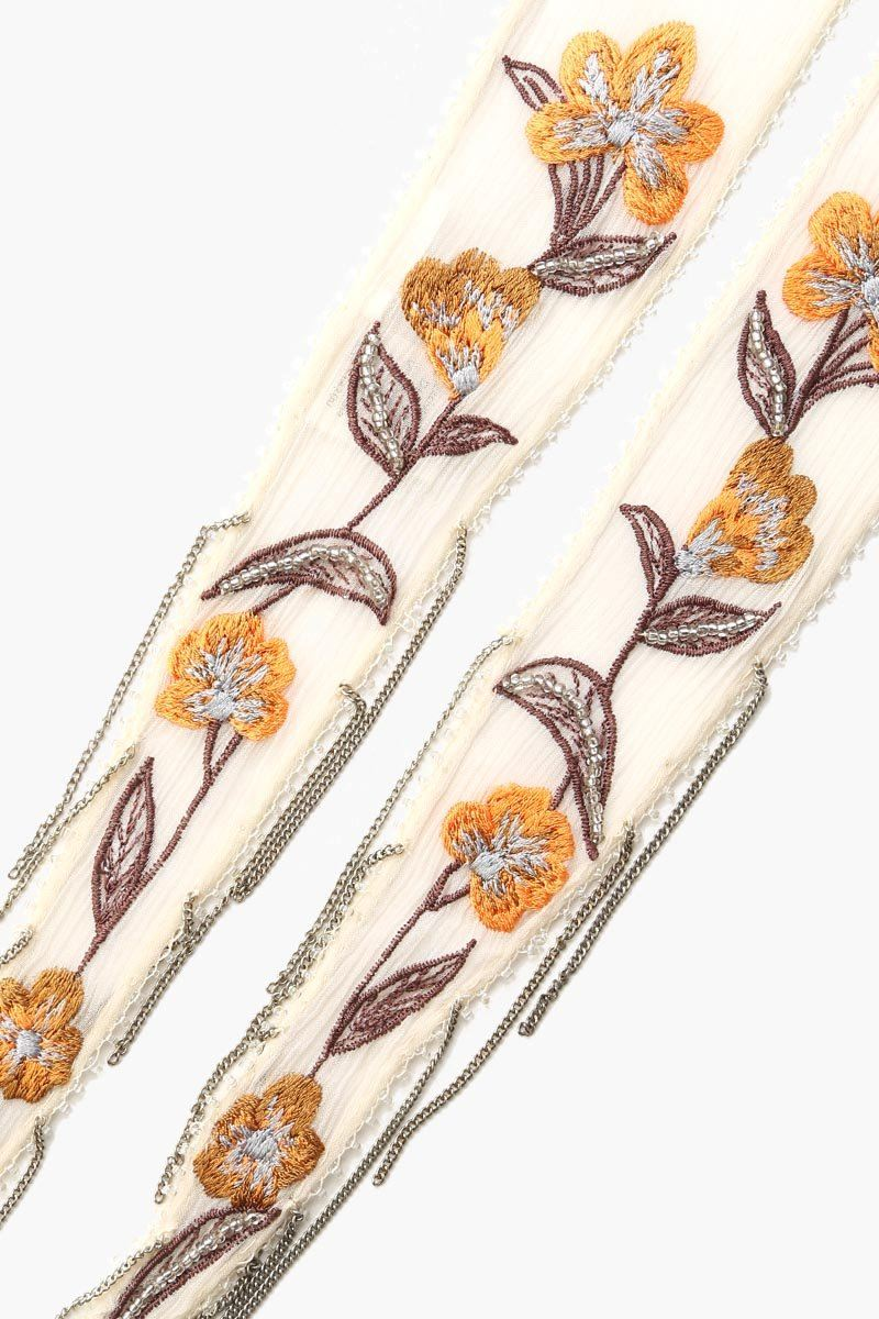 Birch Floral Embroidered Long Skinny Scarf