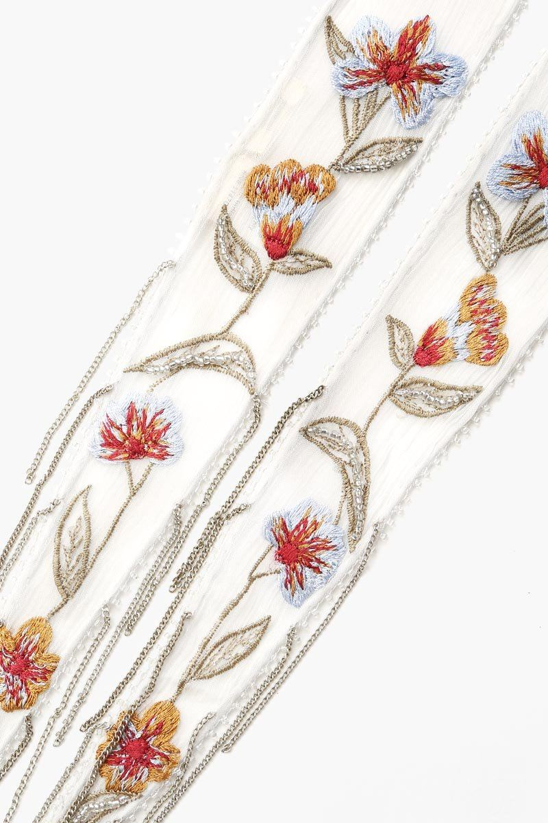 Grey Dawn Floral Embroidered Long Skinny Scarf