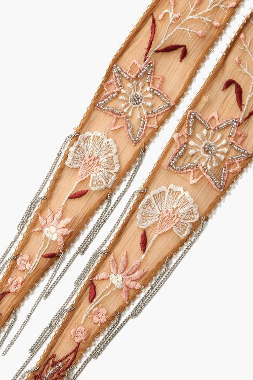 Brown Sugar Summer Nights Embroidered Long Skinny Scarf