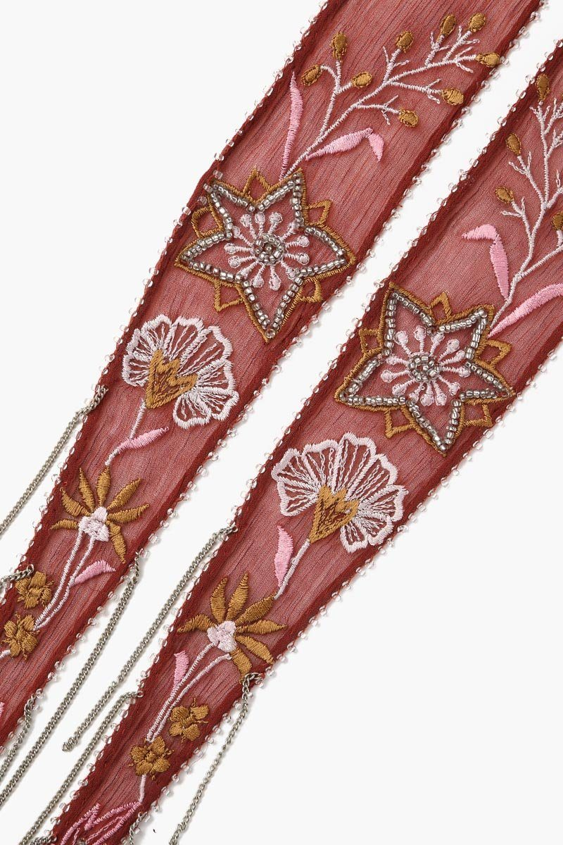 Henna Summer Nights Embroidered Long Skinny Scarf
