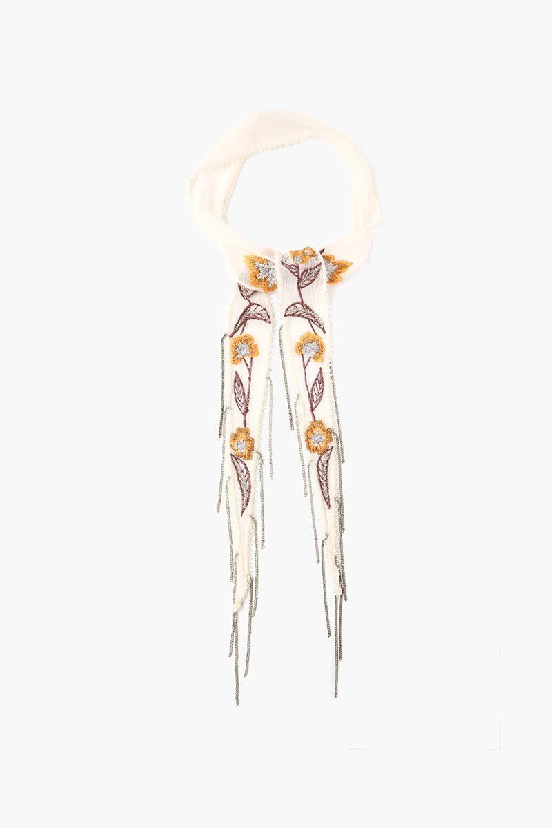 Birch Multi Floral Embroidered Short Skinny Scarf