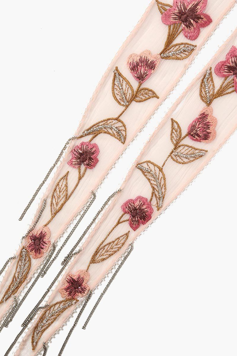 Scallop Shell Floral Embroidered Short Skinny Scarf