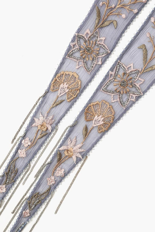 Flint Stone Summer Nights Embroidered Short Skinny Scarf