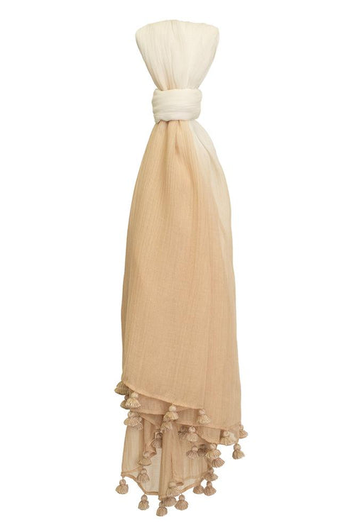 Oxford Tan Mix Dip Dyed Tassel Scarf
