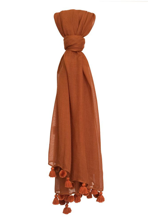 Gingerbread Solid Tassel Scarf