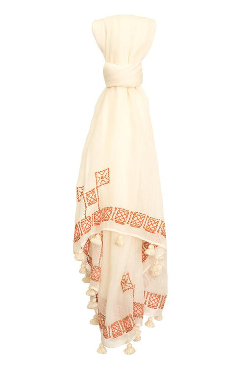 White Swan Embroidered Tassel Scarf