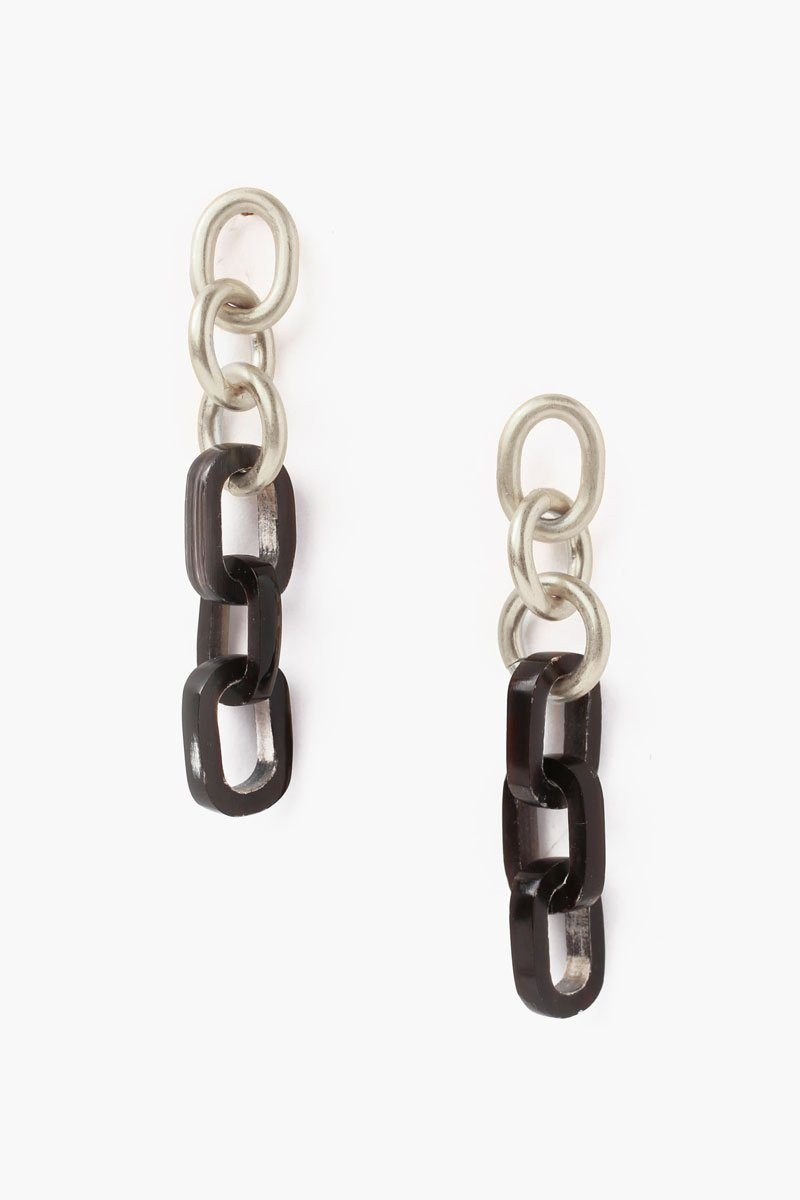 Silver and Black Horn Mix Chain Earrings