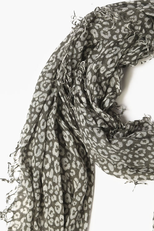 Beetle/Seed Pearl Leopard Print Cashmere and Silk Scarf