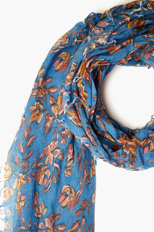 Palace Blue Painterly Floral Cashmere and Silk Scarf