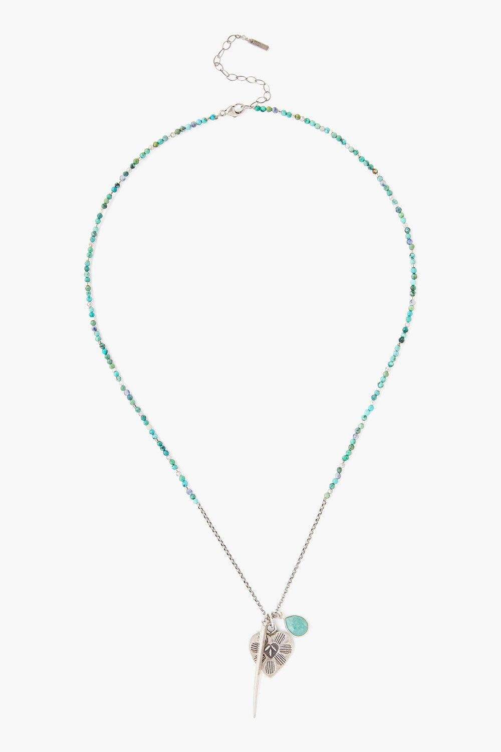 Turquoise and Heart Charm Necklace