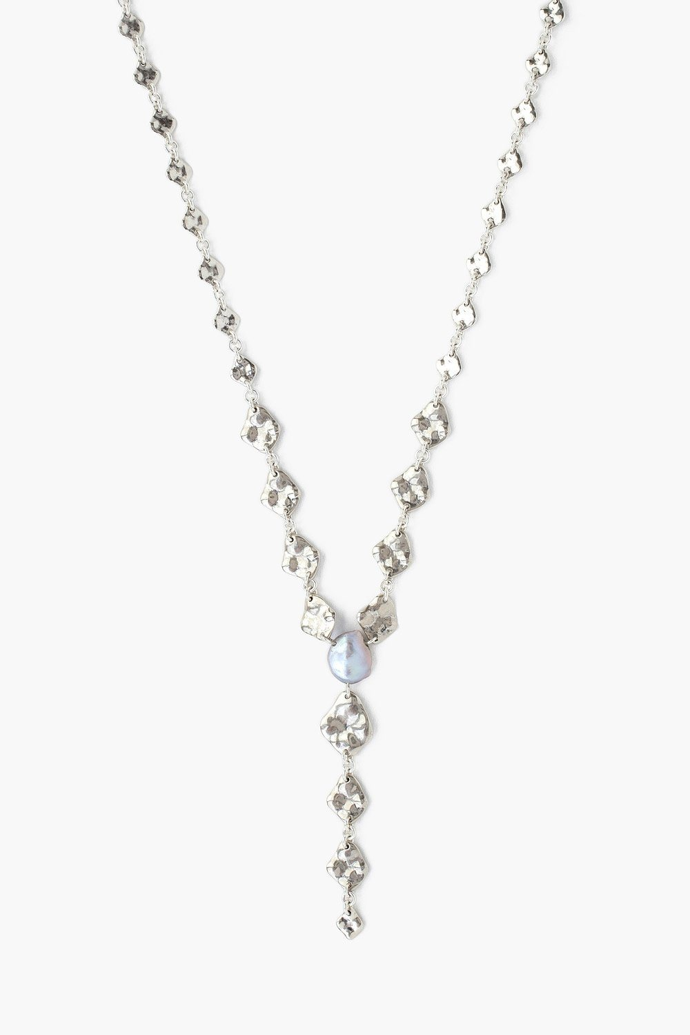 Silver and Keshi Pearl Y-Necklace