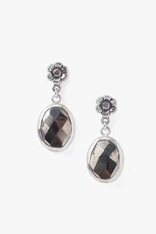 Tiered Flower and Pyrite Earrings