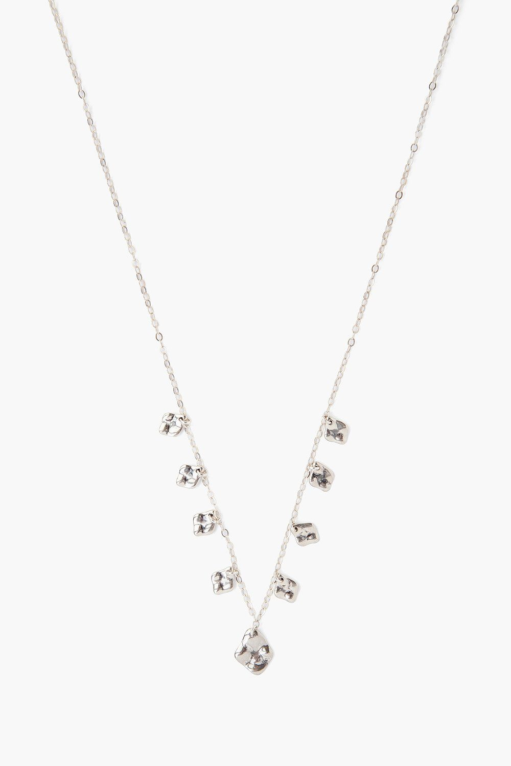 Silver Hammered Charm Necklace