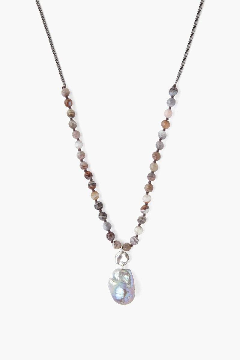 Botswana Agate and Pearl Necklace