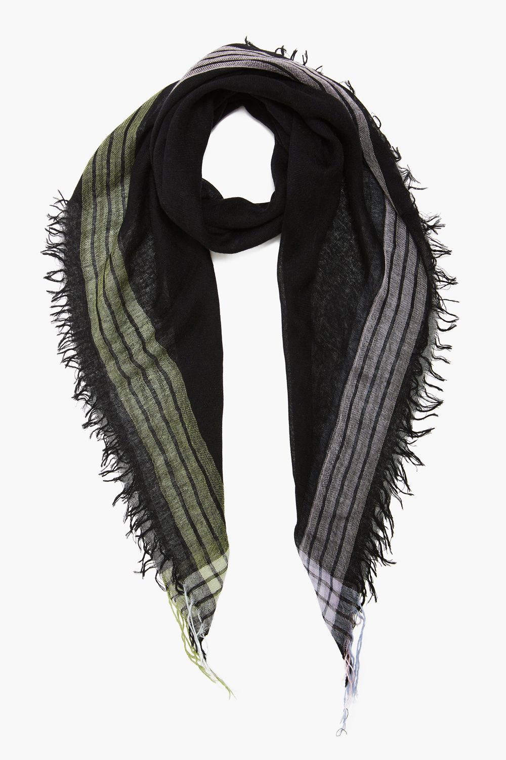 Black Stripe Petite Cashmere and Silk Scarf