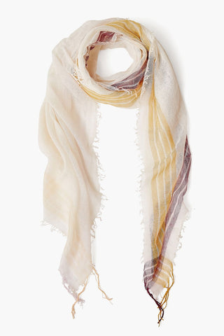Cream Stripe Petite Cashmere and Silk Scarf