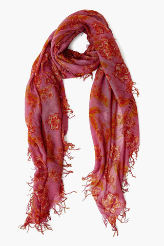 Grape Nectar Floral Cashmere and Silk Blend Scarf