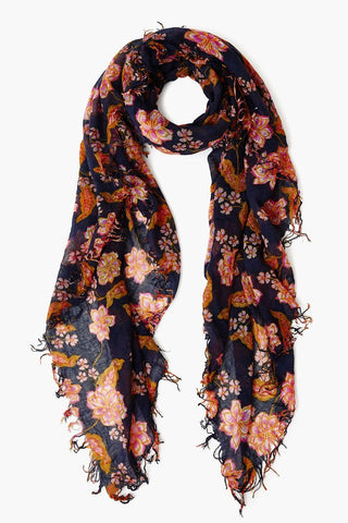 Mood Indigo Floral Cashmere and Silk Blend Scarf