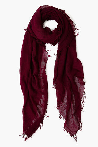 Plum Caspia Cashmere and Silk Scarf