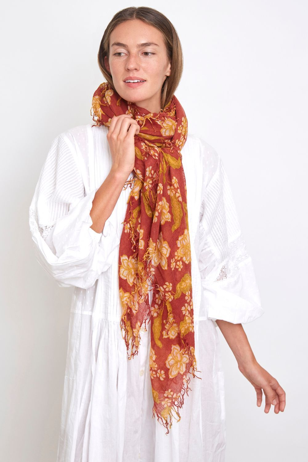 Russet Brown Floral Cashmere and Silk Blend Scarf