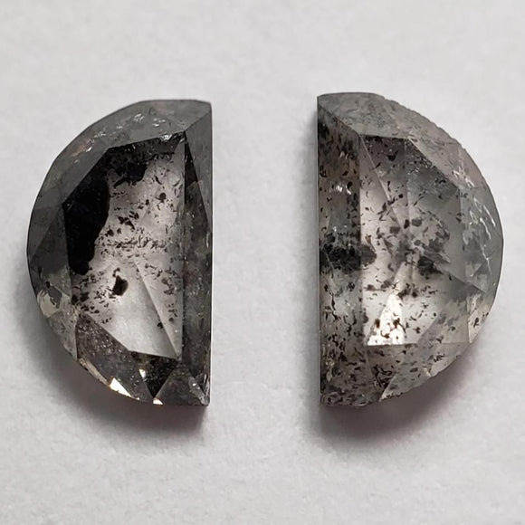 0.68cttw 2pc Matching Salt and Pepper Half Moon Rosecut 40069-2-5