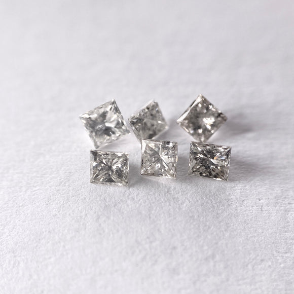0.66cttw 6pc Matching Salt and Pepper Princess Cut SP1007
