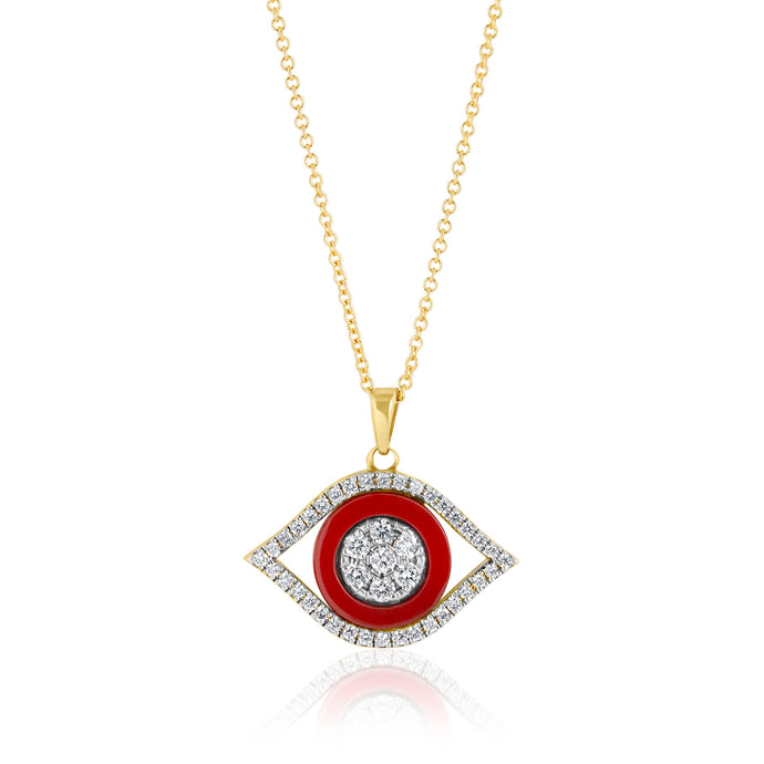 Evil Eye Diamonds and Reconstructed Coral Necklace