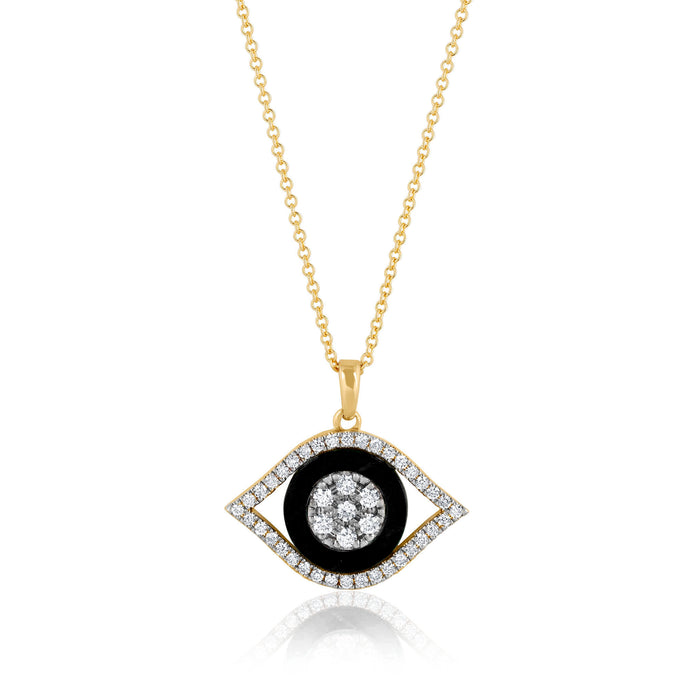 Evil Eye Diamonds and Onix Necklace