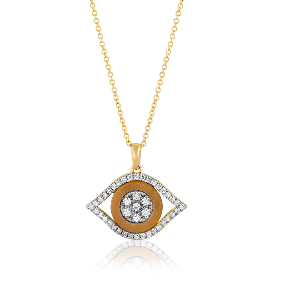 Evil Eye Diamonds and Tiger Eye Necklace