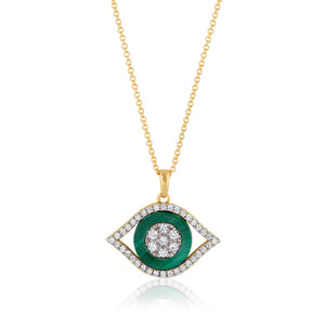 Evil Eye Diamonds and Malachite Necklace
