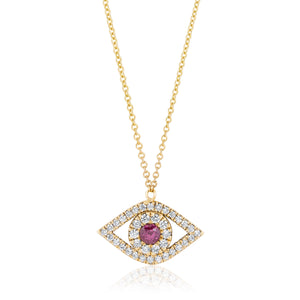 Evil Eye Two Layers Diamonds and Ruby Necklace
