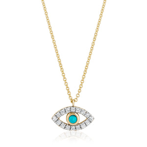 Evil Eye Diamonds and Turquoise Necklace