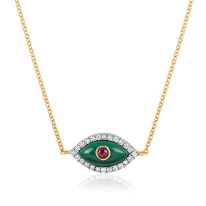 Evil Eye Marquise Malachite and Ruby Necklace