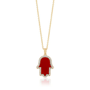 Hamsa Diamonds and Reconstructed Coral Necklace - Small