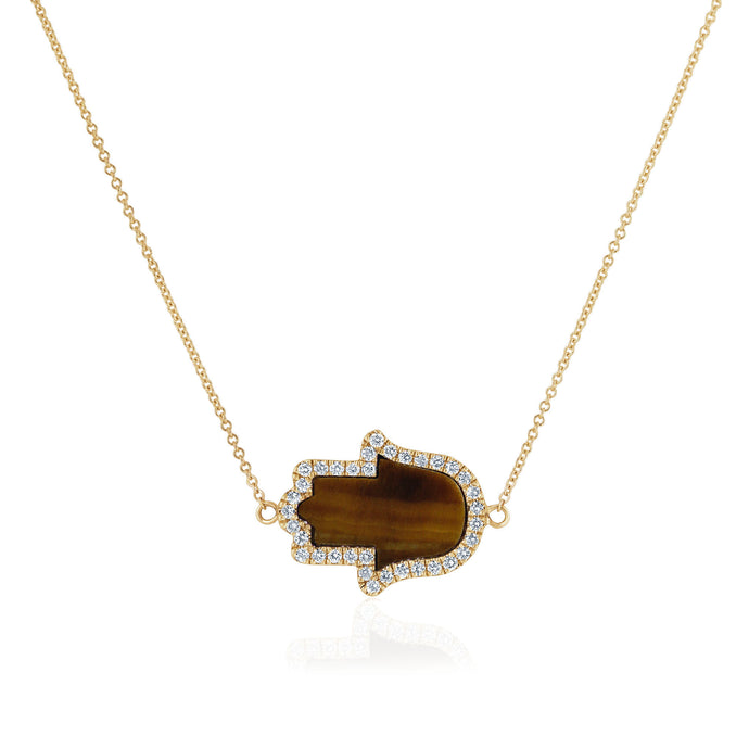 Hamsa Diamonds and Tiger Eye Necklace - Small