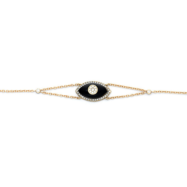 Evil Eye Diamonds and Onix Bracelet