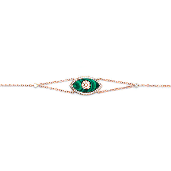 Evil Eye Diamonds and Malachite Bracelet