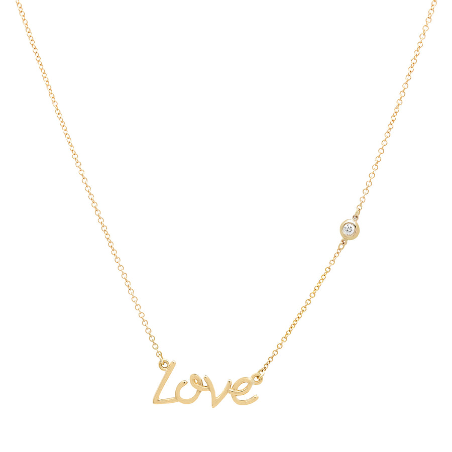 Love Script Necklace with a Bezel Set Diamond