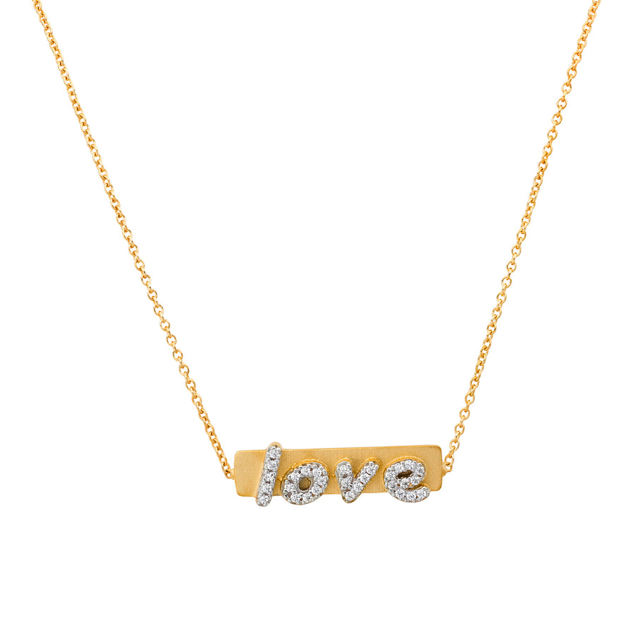 Diamond Love Plaque Necklace