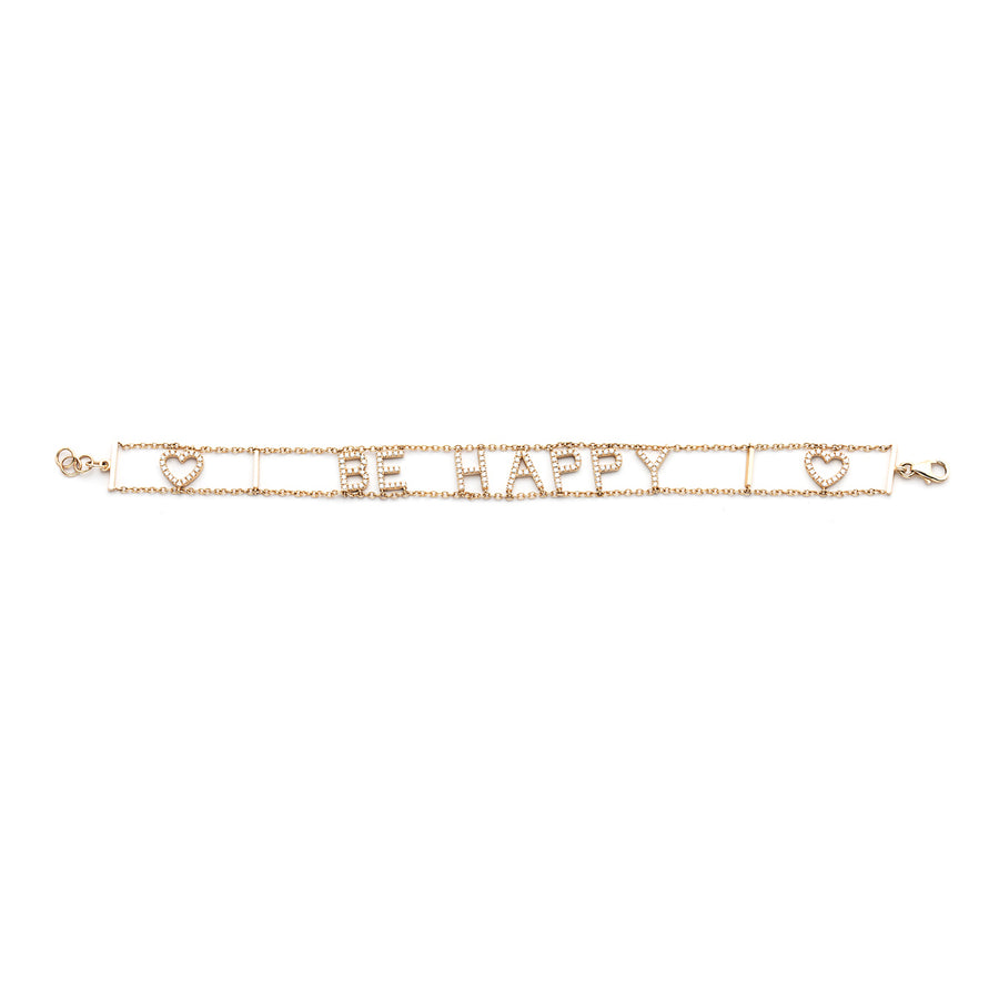 Be Happy Diamond Bracelet with Hearts
