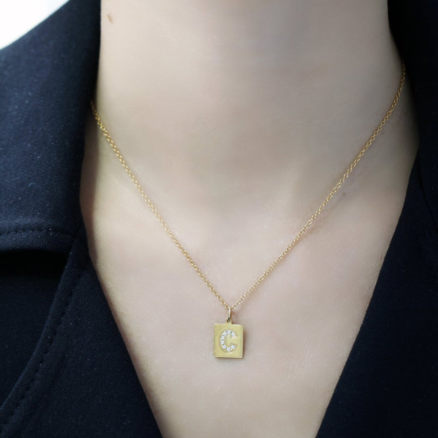 Celine Initial Pendant in Solid Gold and Diamonds by Rita Jewels