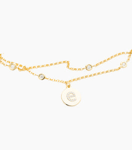Double Chain Disc Diamond Initial Bracelet