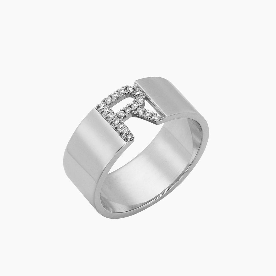 Diamond Initial Cigar Ring Medium