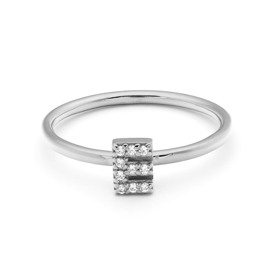 Diamond Block Initial Ring
