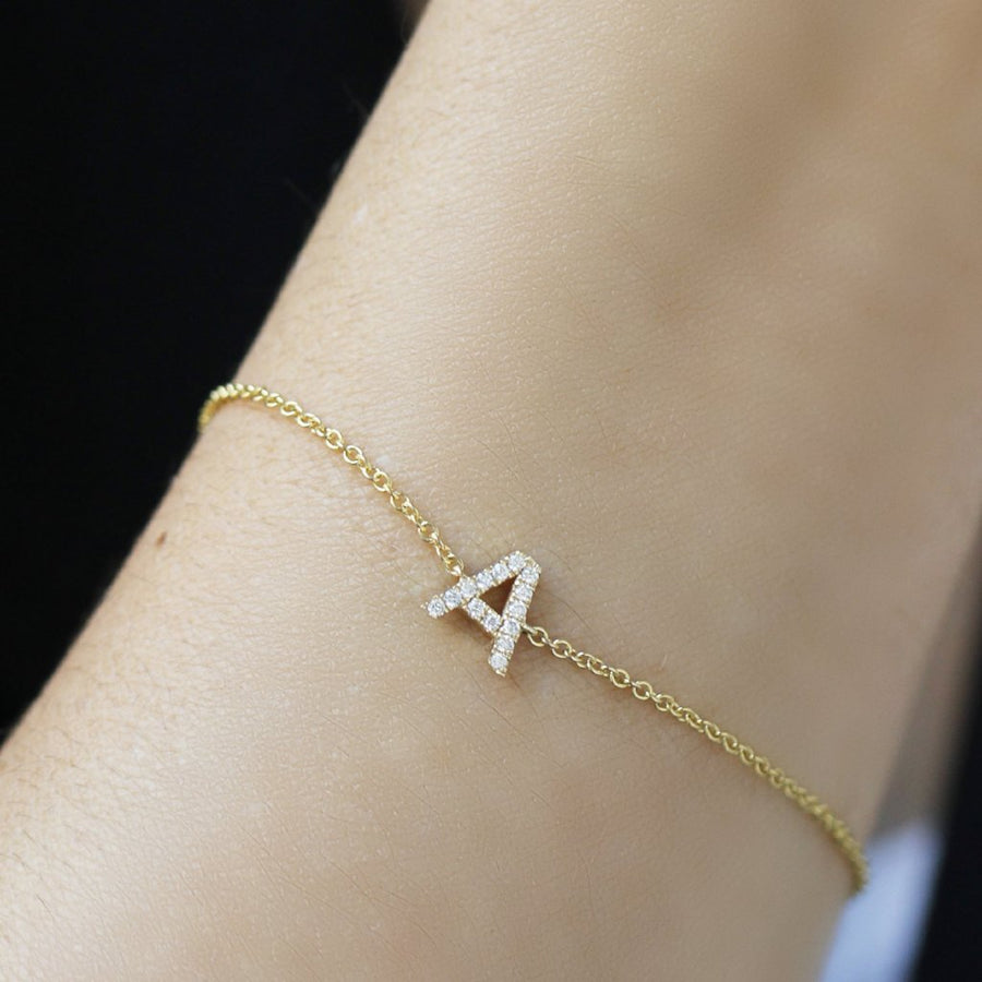Single Diamond Pavé Initial Bracelet