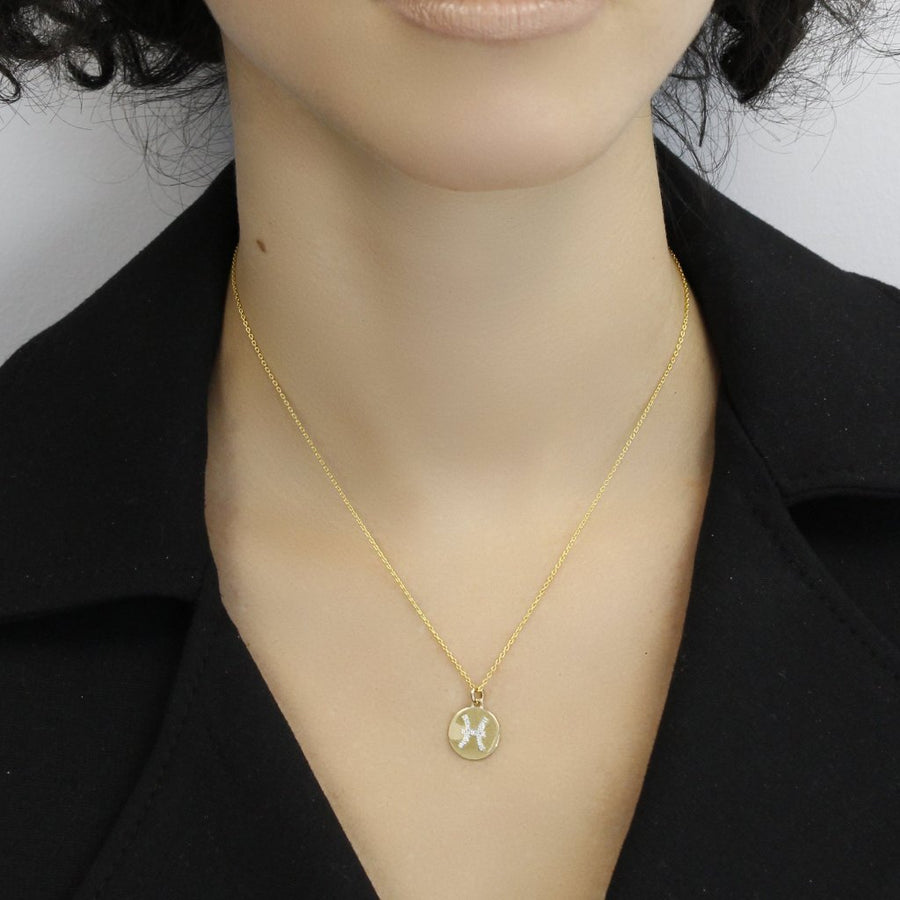 Pisces Gold and Diamonds Zodiac Necklace
