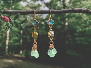 Linear Shakey Calcedony Teardrop Earrings
